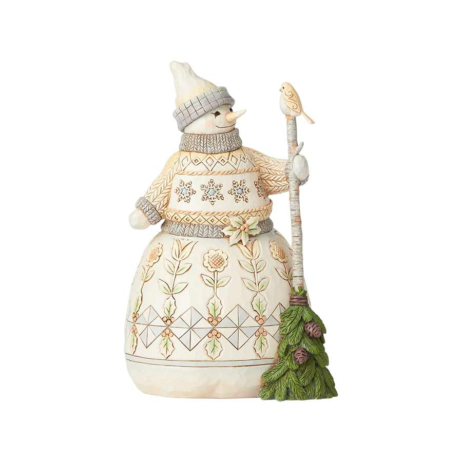 White Woodland Snowman w/Broom