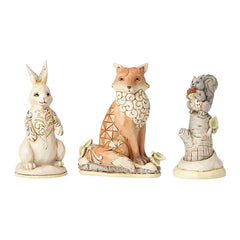 White Woodland Animals Set