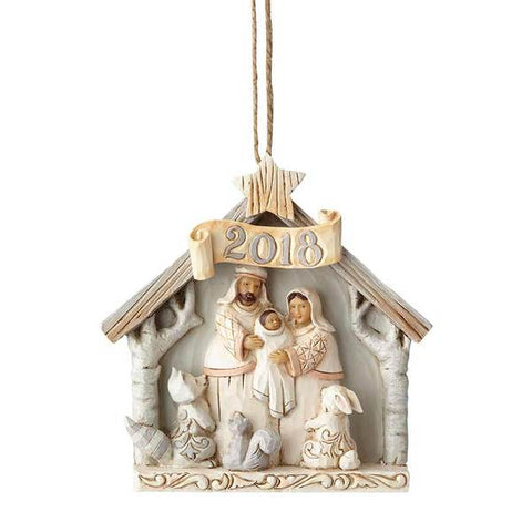 White Woodland 2018 Ornament
