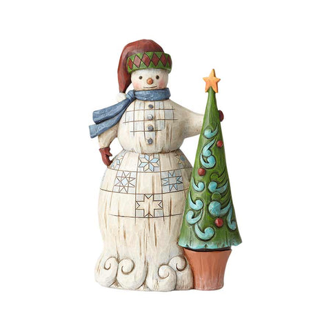 Folklore Snowman with Tree