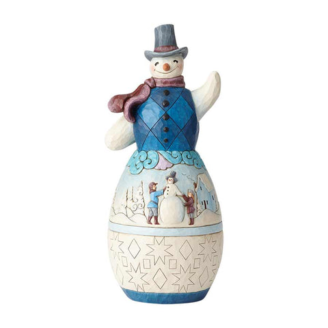 Snowman with Winter Scene