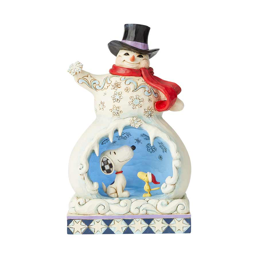 Snowman with Snoopy Scene