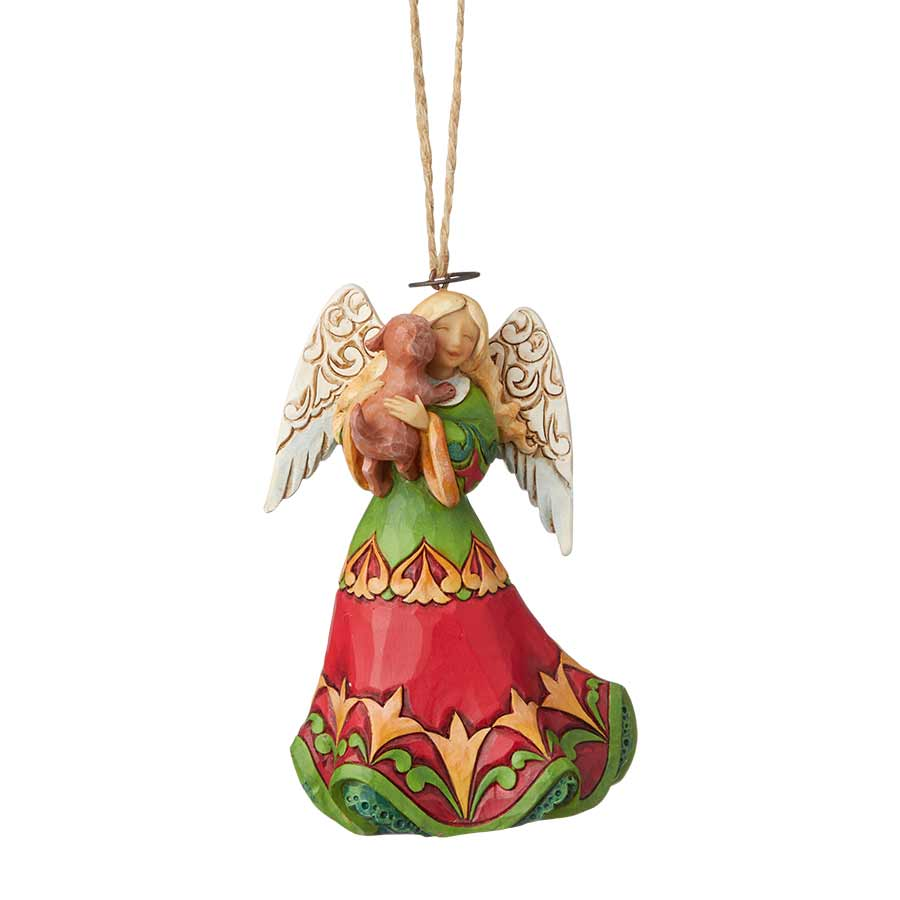 Angel Holding Puppy Ornament