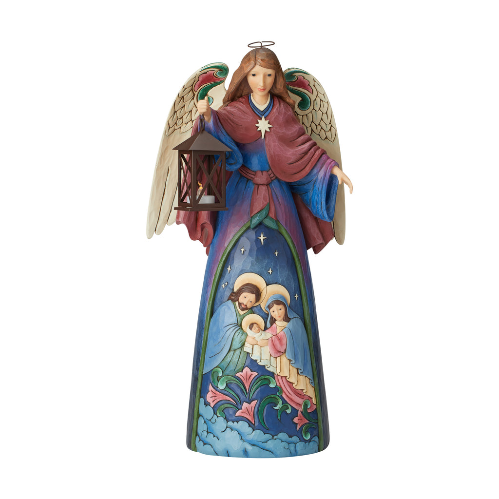 Lighted  Angel With Holy Scene