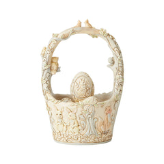 White Woodland Basket w/4 Eggs