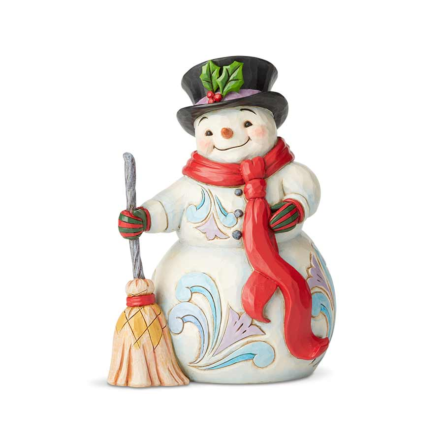 Snowman W/Broom & Scarf