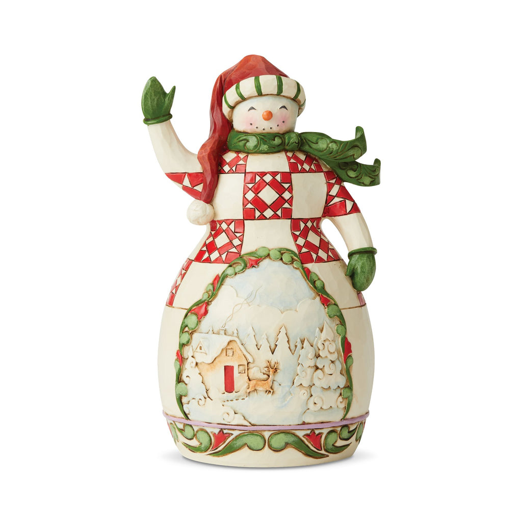 Red/Green Snowman with Scene