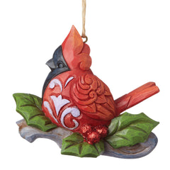 Cardinal On Branch Ornament