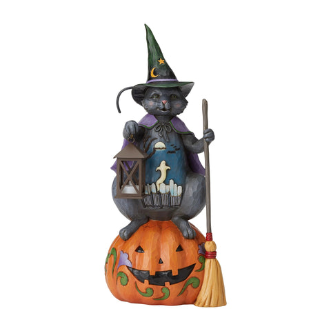Cat withPumpkin/Lantern Statue