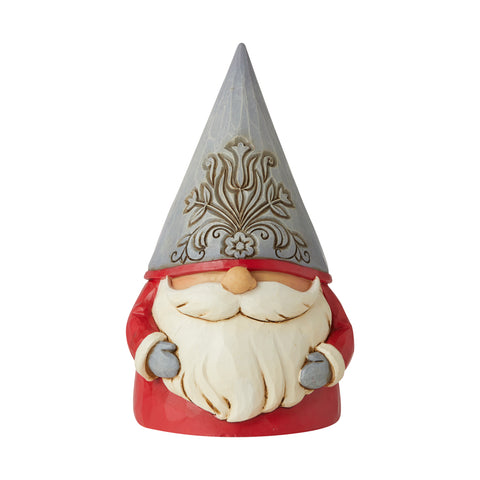 Grey Floral Hat Gnome