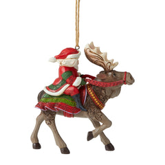 Santa Riding Moose Ornament
