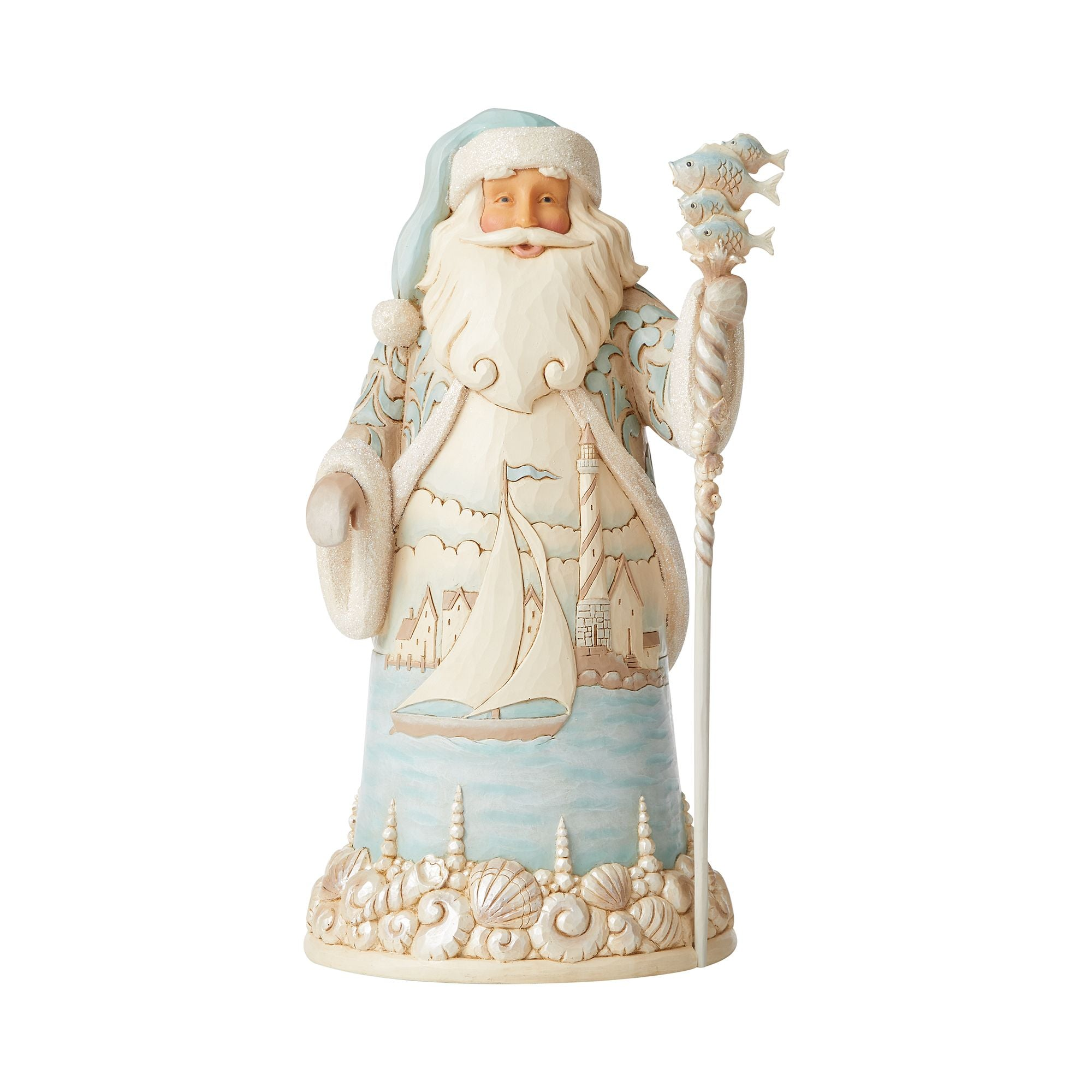 Coastal Santa/Sailboat Scene