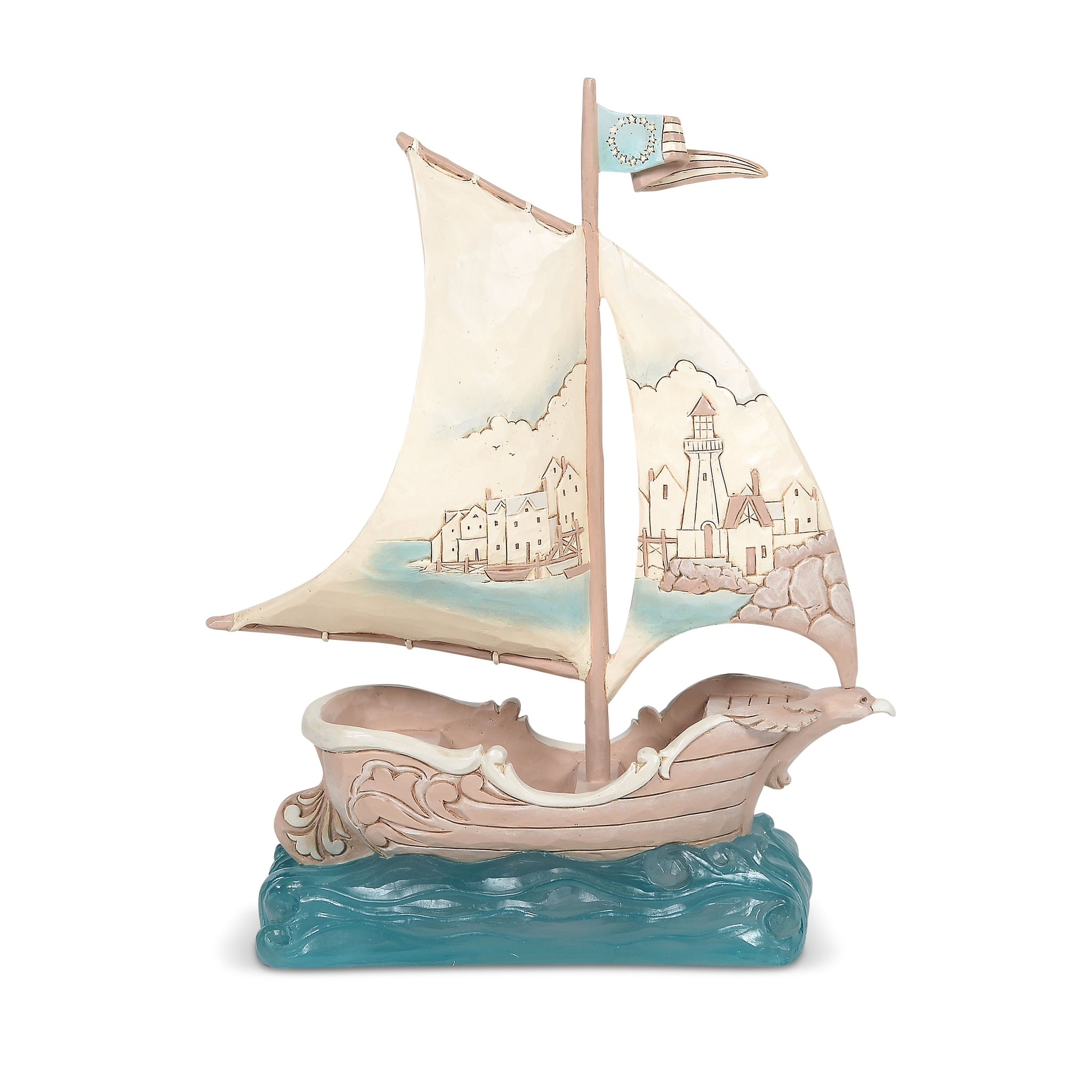 Coastal Sailboat with Scene