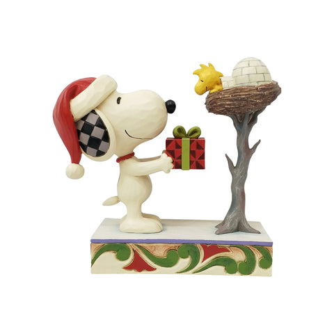 Snoopy giving Woodstock a Gift