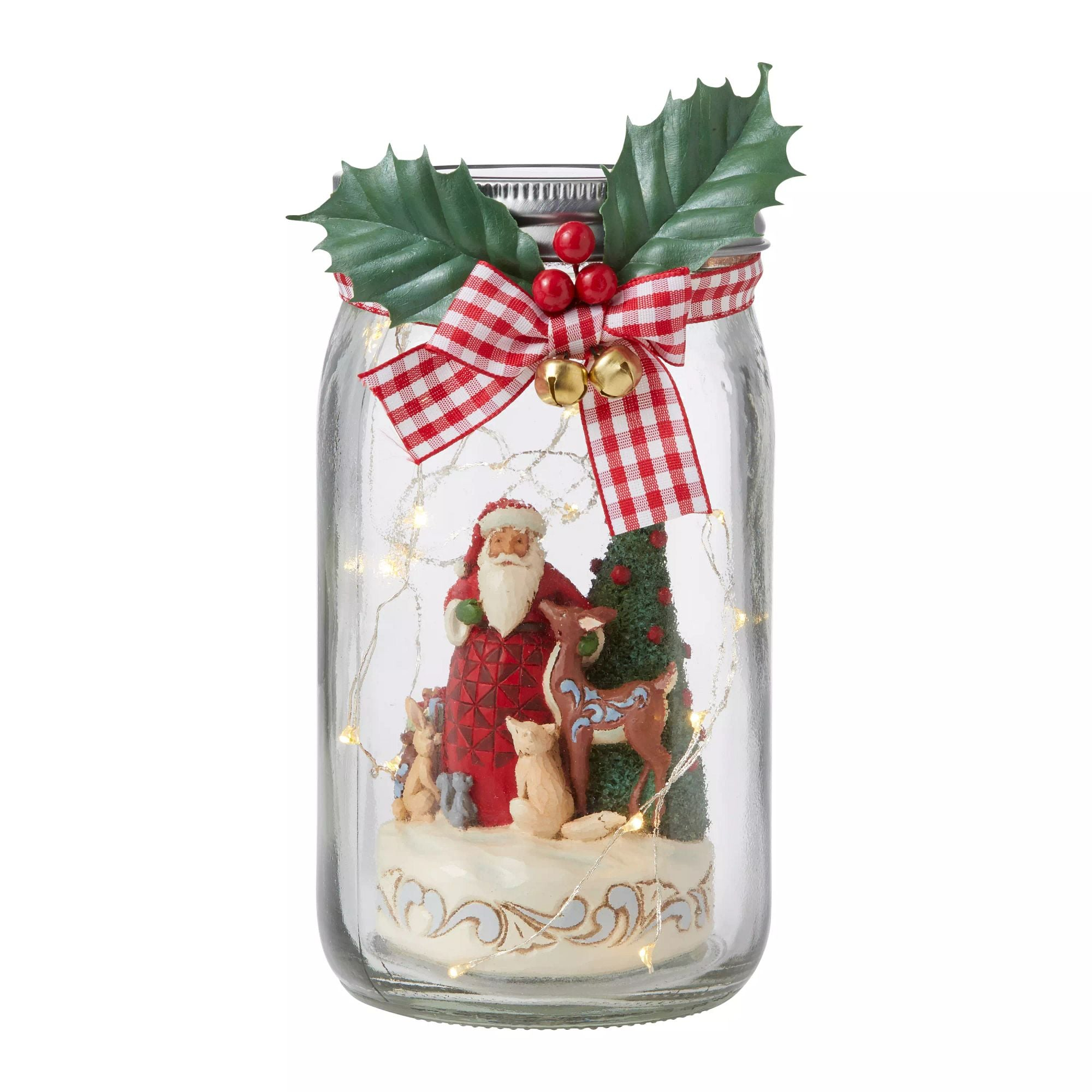 Lighted Glass Jar with Santa