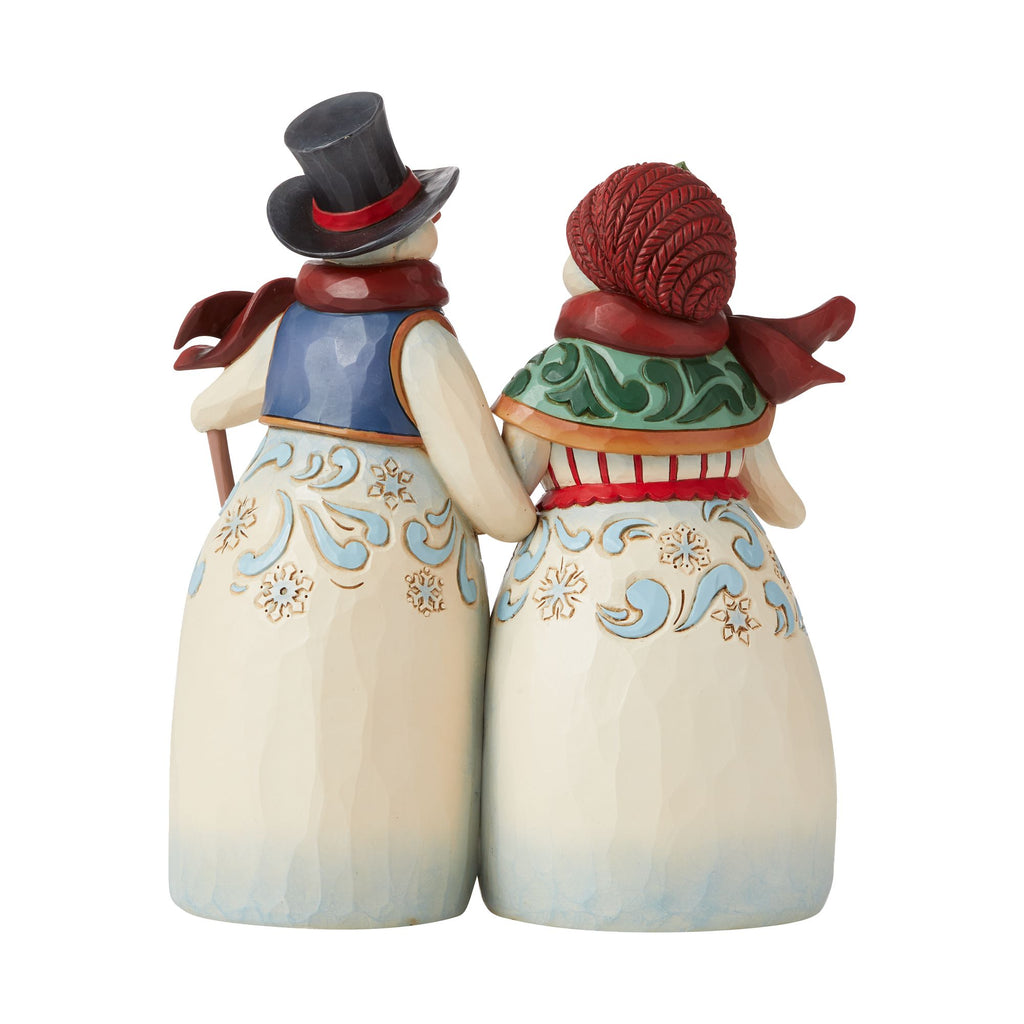 Snowman Couple Holding Hands
