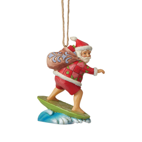 Santa Surfing Ornament