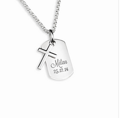 Kids Dog Tag mit Kreuz