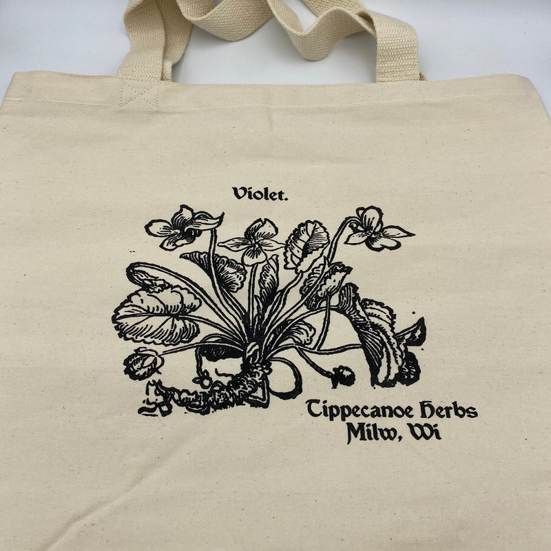 Violet Canvas Tote Bag - Tippecanoe Herbs Herbalist Milwaukee