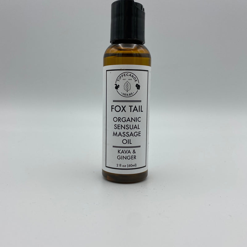 Massage Oil - Fox Tail Sensual Massage - Kava Kava Damiana Ginger - Tippecanoe Herbs Herbalist Milwaukee