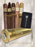 Cigar Lifestyle Accessories: Lucky 3 cigars gold travel Humidor, flint zippo Lighter +5 Cigar