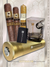 Cigar Accessories: Lucky 3 cigars gold travel Humidor, whiskey Glass, flint zippo Lighter + 3 Cigars