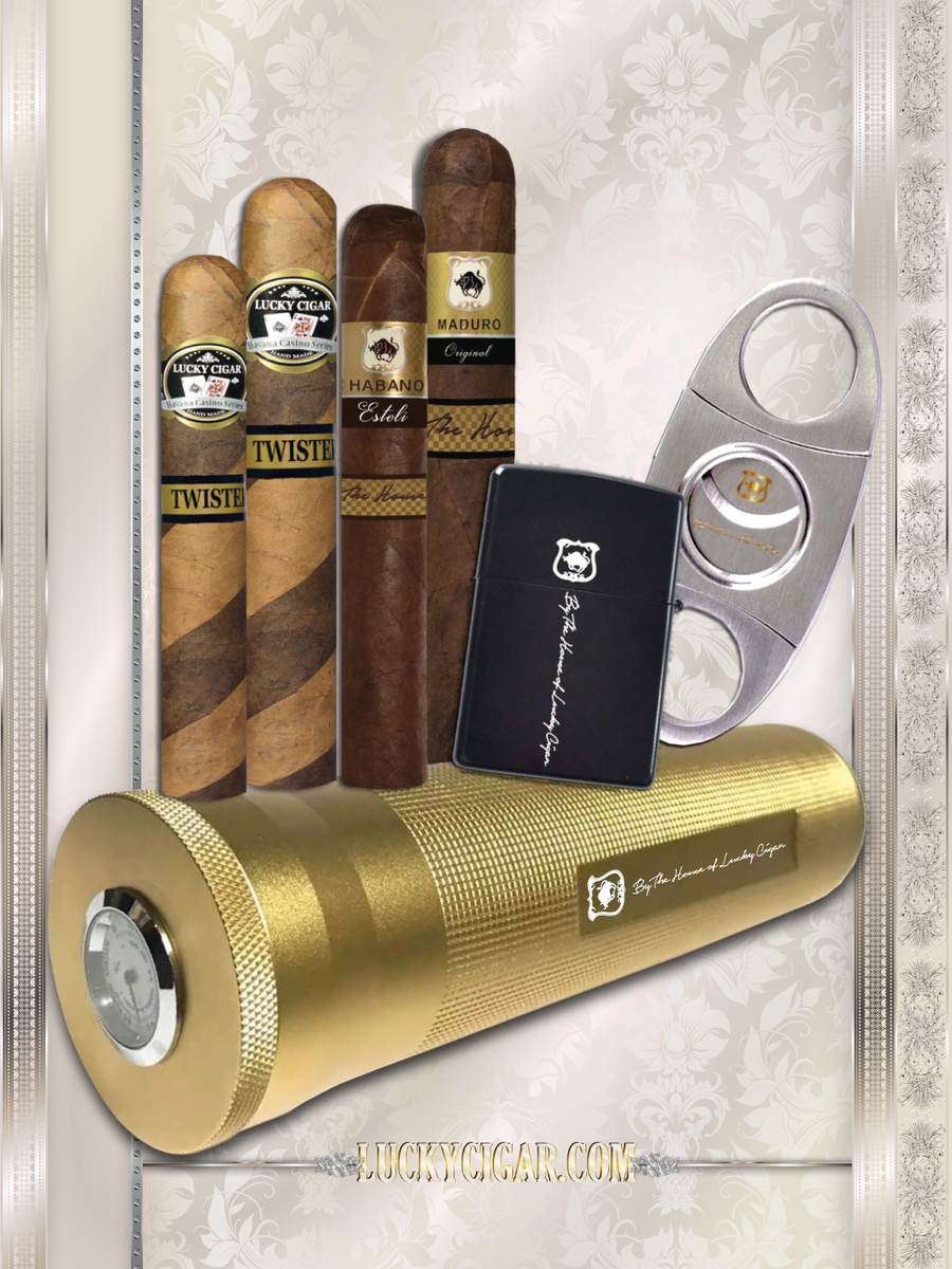 Cigar Accessories: Lucky 3 cigars gold travel Humidor, stainless Cutter, flint zippo Lighter + 4 Cigars