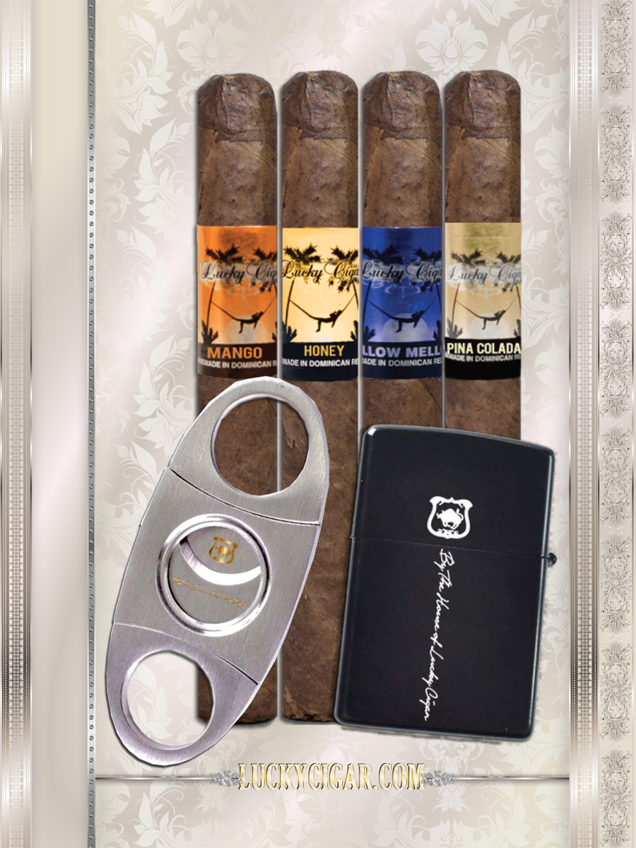Cigar Lifestyle Accessories: Lucky stainless Cutter, flint zippo Lighter +4 Flavor