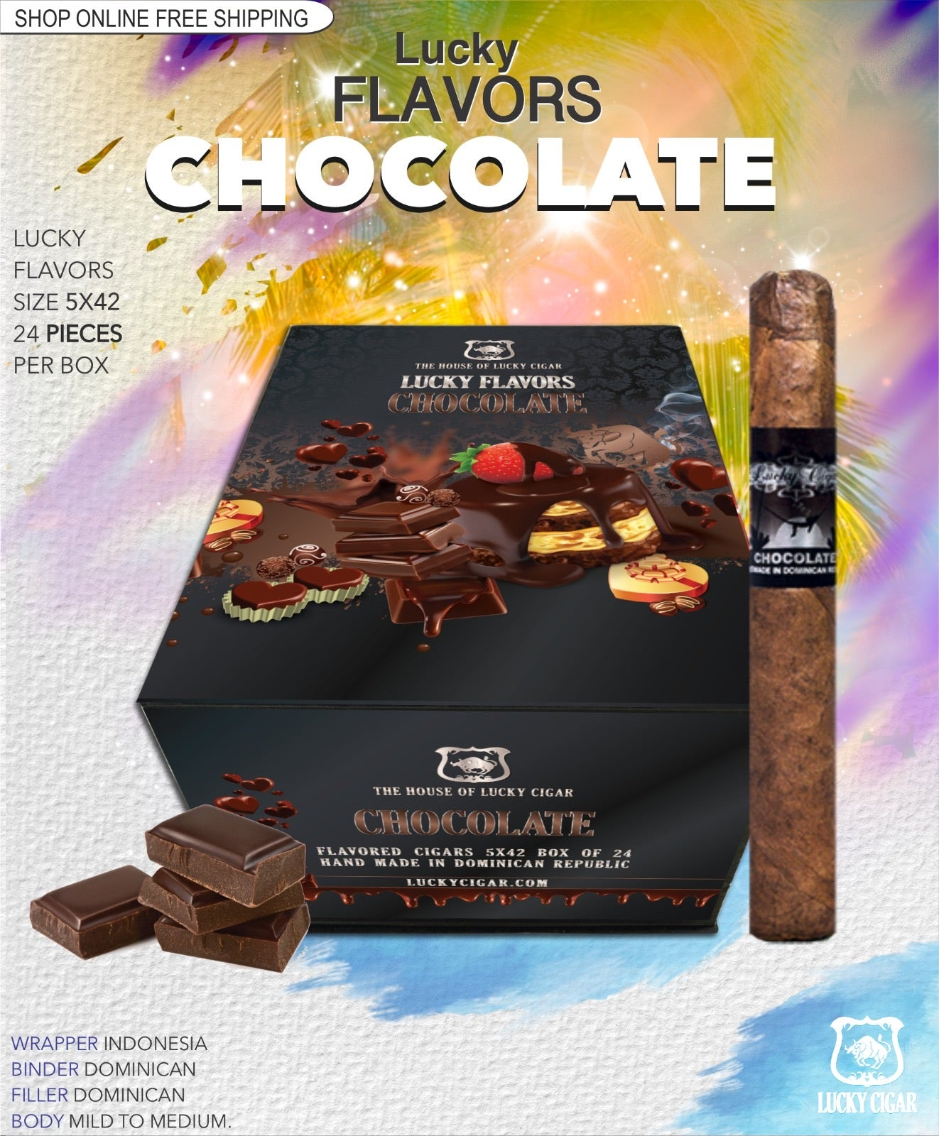 Flavored Cigars: Lucky Flavors Chocolate 5x42 Box of 24