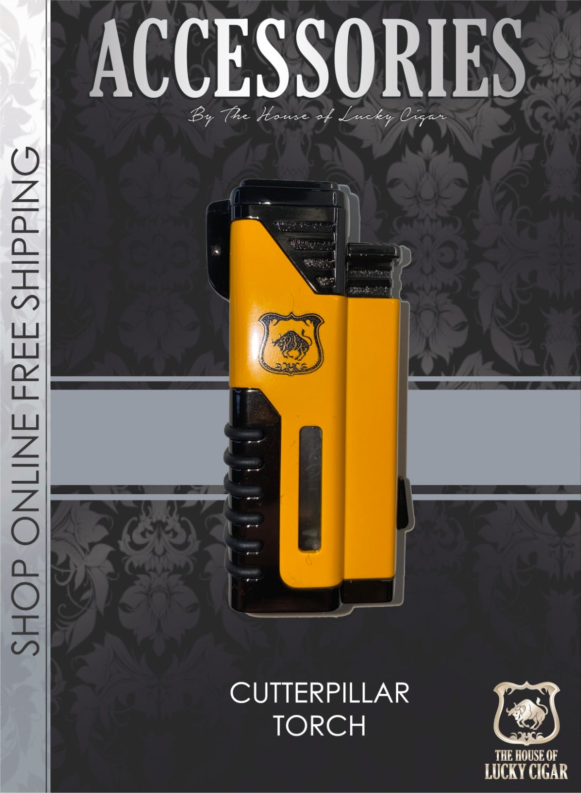 Cigar Lifestyle Accessories: cutter pillar yellow  4 jets Torch