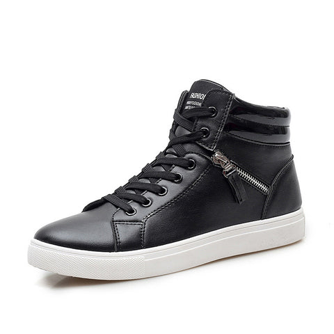 Men British Style High Top Casual Shoes Trainers Pu Leather Outdoor Plain Shoes man's Fashion Hip Hop Shoes Zapatillas XK102143 - Pirate Of Swag