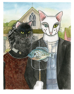 American Gothic with cats contemporary art print