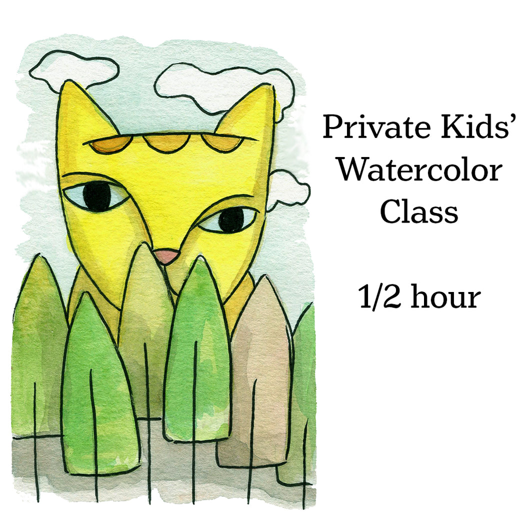 Class-Kids' Private Watercolor lesson