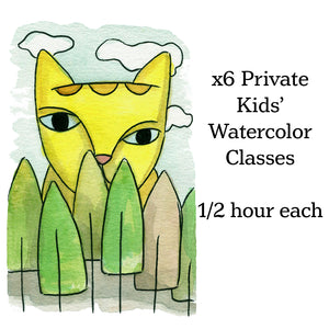 Class-6 Kids' Private Watercolor lessons