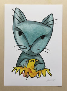Blue Cat Yellow Bird Print 5x7