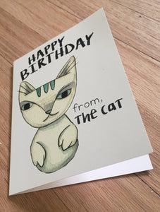 Happy Birthday From the Cat card