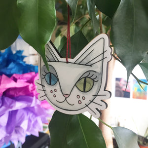 Bowie Cat Wooden Ornament
