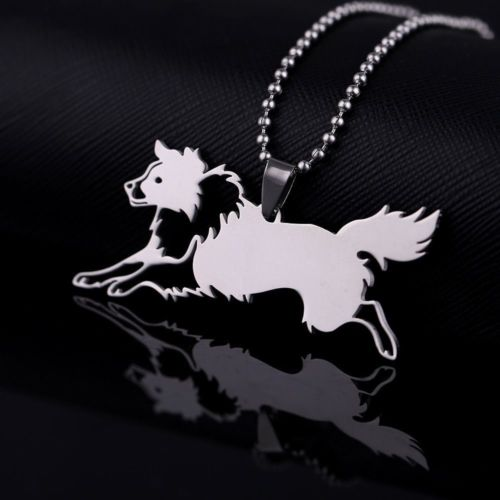 Stainless Steel Herding Border Collie Outline Pet Dog Tag Charm Pendant Necklace
