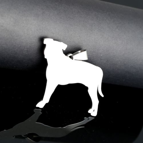 BIG Stainless Steel Natural Ear Pitbull Pitties Dog Pet Collar Tag Charm Pendant