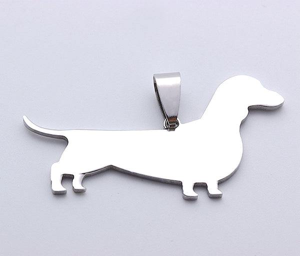 Stainless Steel V2 Dachshund Doxie Wiener Sausage Dog SilhouettePet Dog Tag Breed Collar Charm Pendant Necklace Version 2