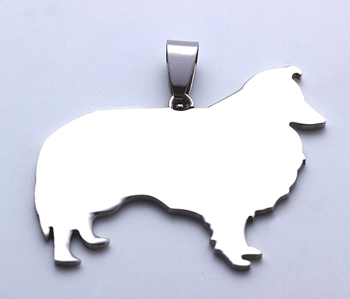 Stainless Steel Sheltie Scotland Shepherd Shetland Miniature Collie Silhouette Pet Dog Tag Breed Collar Charm Pendant Necklace