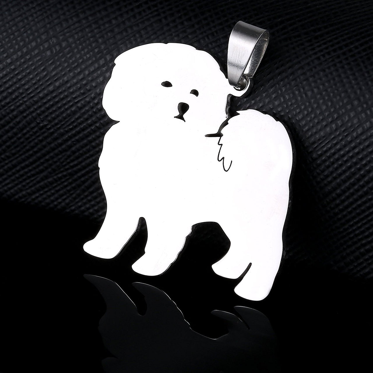 Stainless Steel Maltese Lion Dog Pet Dog Tag Breed Collar Charm Pendant and Necklace
