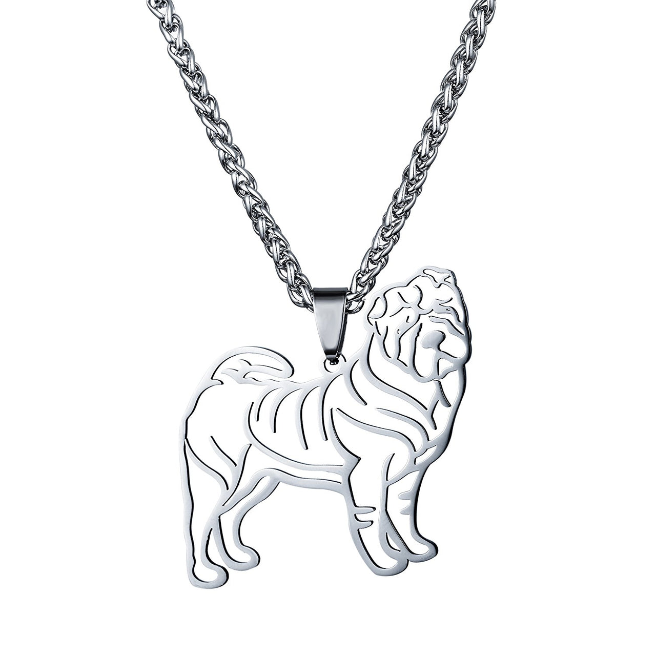 Stainless Steel Sharpei Chinese Shar Pei Outline Pet Dog Tag Breed Collar Charm Pendant Necklace