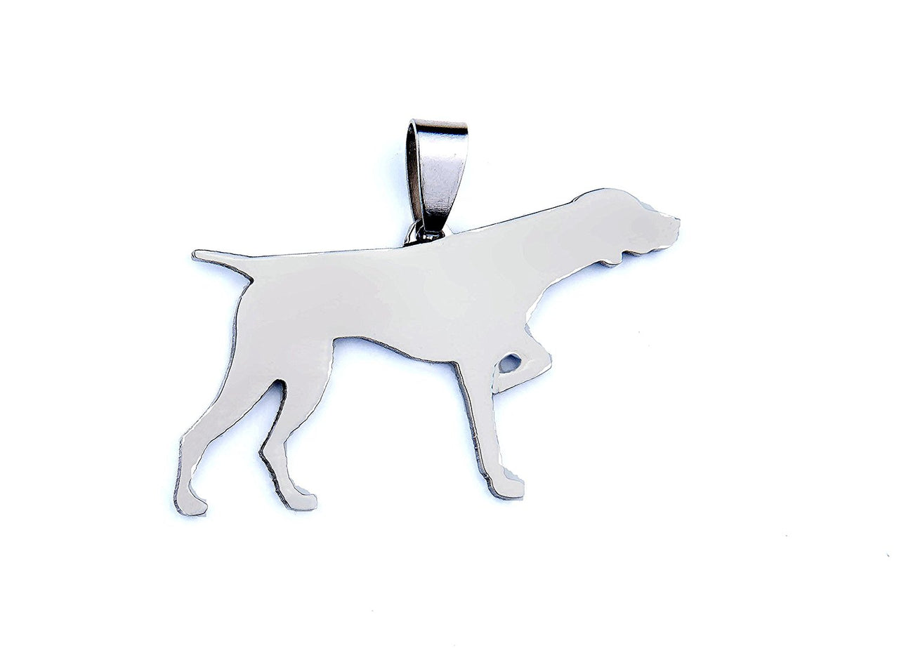 Stainless Steel English Pointer Dog Silhouette Pet Dog Tag Breed Collar Charm Pendant Necklace