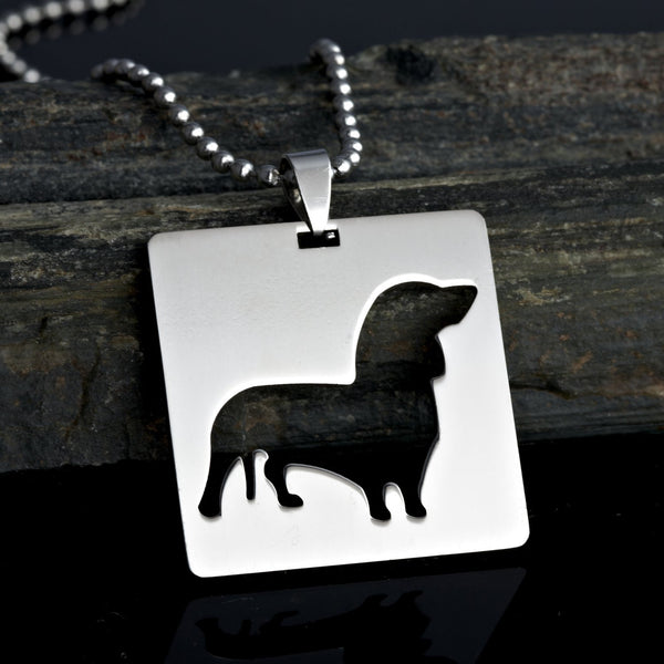 Stainless Steel Square Shape Dachshund Doxie Wiener Sausage Dog Silhouette Pet Dog Tag Breed Collar Charm Pendant Necklace Version 2