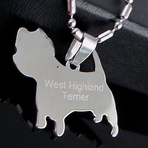 Stainless Steel West Highland Terrier Westie Dog Silhouette Pet Dog Tag Breed Collar Charm Pendant Necklace