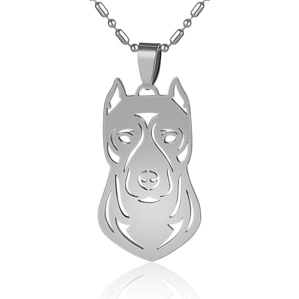 Stainless Steel American Pitbull Terrier Pitties Pet Dog Collar Tag Charm Pendant Necklace