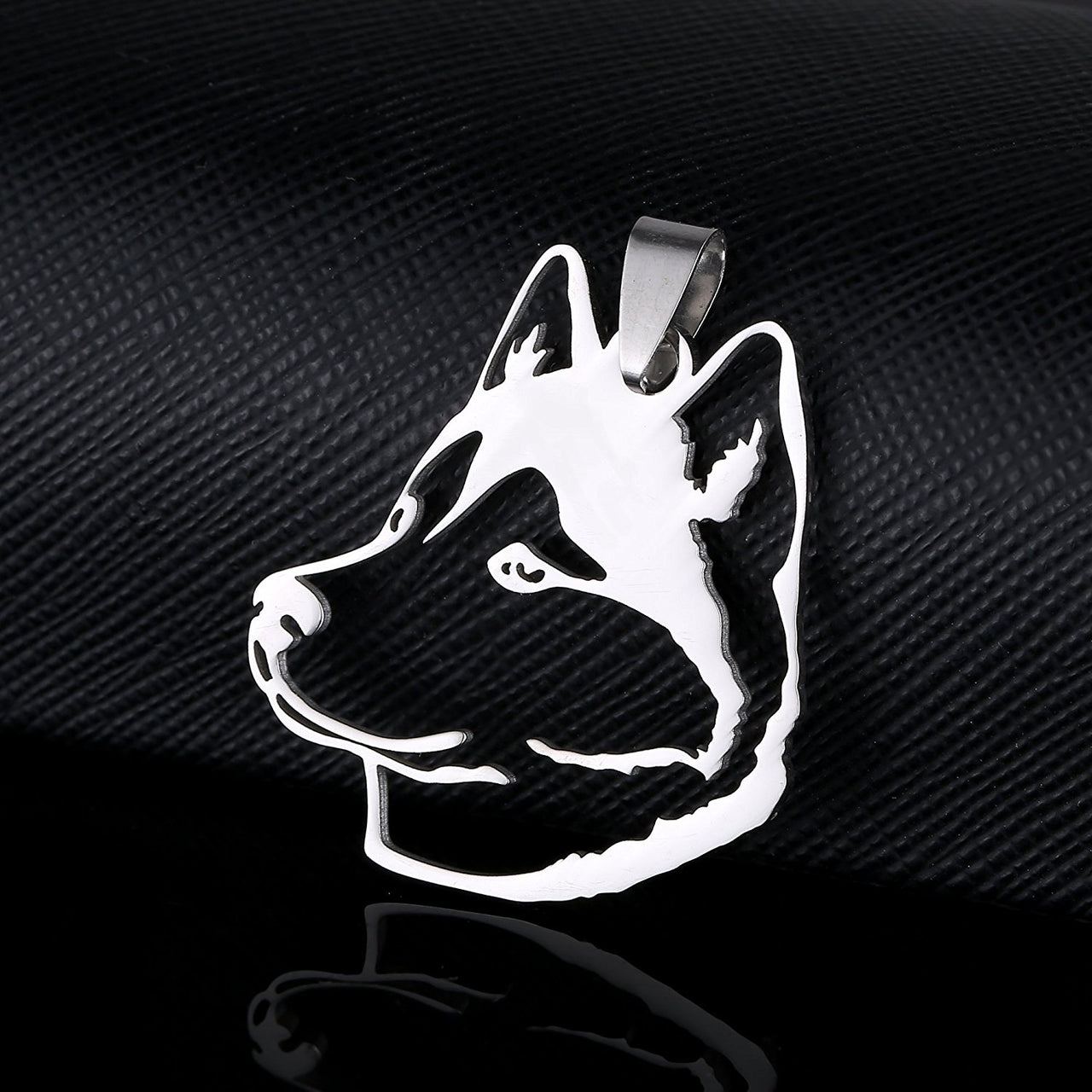 Stainless Steel Siberian Husky Huskie Sibe Chukcha Chuksha Dog Head Pet Dog Tag Breed Collar Charm Pendant and Necklace