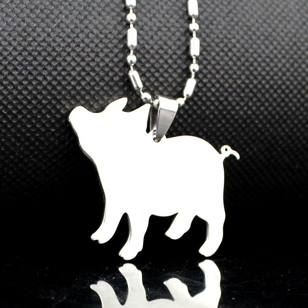 Stainless Steel Mini Miniature Pet Pig Piglet Silhouette Charm Pendant Necklace