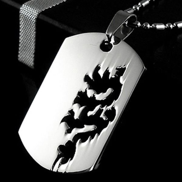 Stainless Steel Legendary Flying Monster Dragon Dog Tag Charm Pendant Necklace